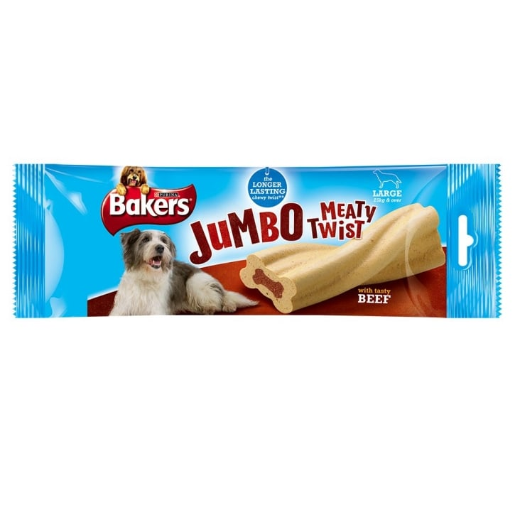 Bakers Jumbo Meaty Twists Large Dog Treat Beef 200g
