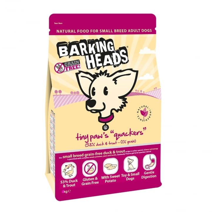 Barking Heads Tiny Paws Quackers Adult Small Breed Dog Food 4kg