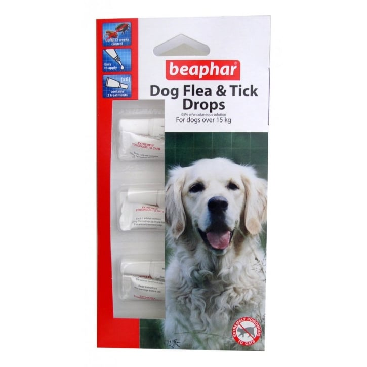 Beaphar Dog Flea Drops - 12 Week Protection Large Dogs