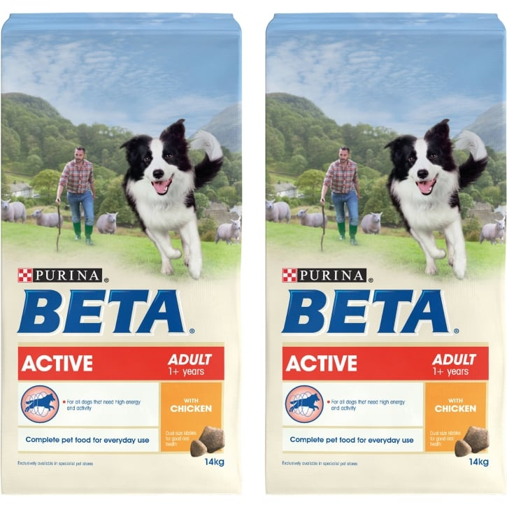 Beta Active Adult Dog Food With Chicken 2 x 14kg
