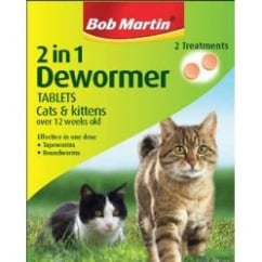 Bob Martin 2 In 1 Dewormer For Cats & Kittens 2 Tablet Pack