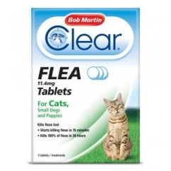 Clear Flea Tablets for Cats and Small Dogs 3 Pack