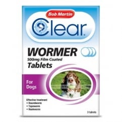 Clear Wormer Tablets For Dogs 3 Pack