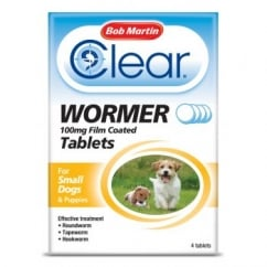 Clear Wormer Tablets Small Dogs and Puppies 4 Pack