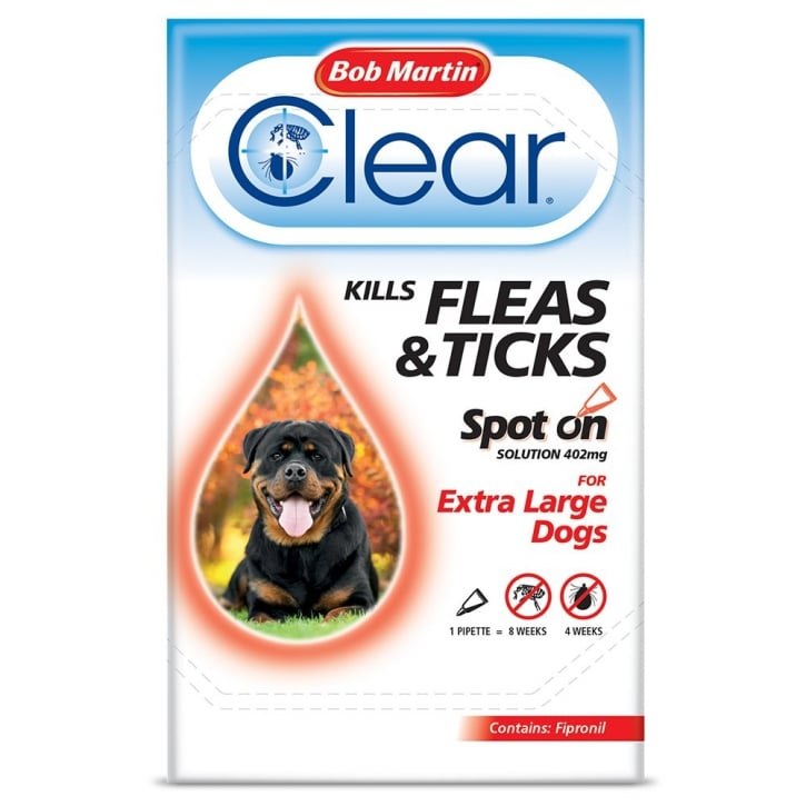 Bob Martin Flea Clear Spot On Flea & Tick Drops For Extra Large Dogs 1 Tube
