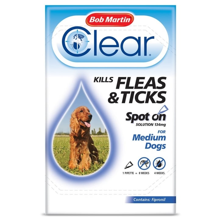 Bob Martin Flea Clear Spot On Flea & Tick Drops Medium Dogs 1 Tube