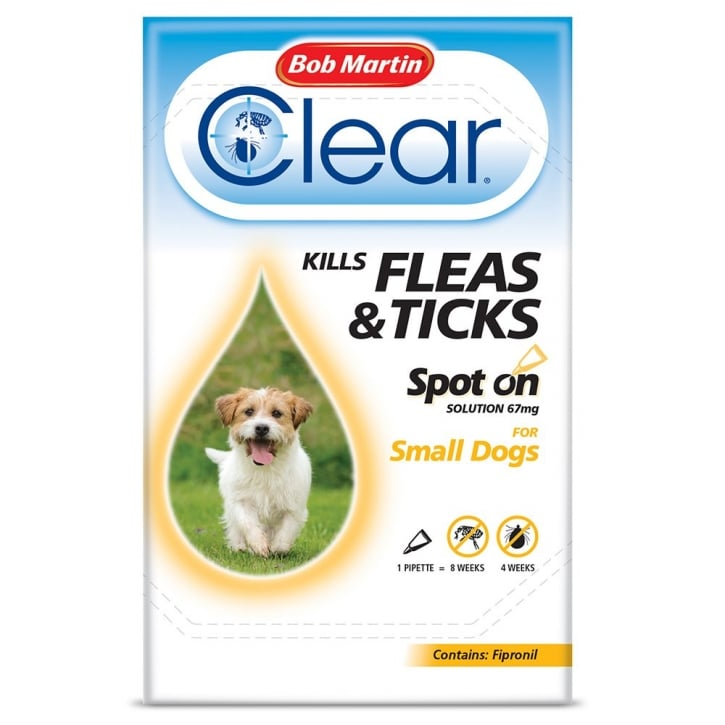 Bob Martin Flea Clear Spot On Flea & Tick Drops Small Dogs 1 Tube