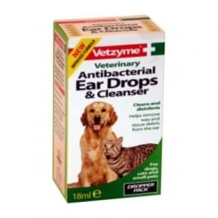Vetzyme Veterinary Antibacterial Ear Drops & Cleanser 18ml