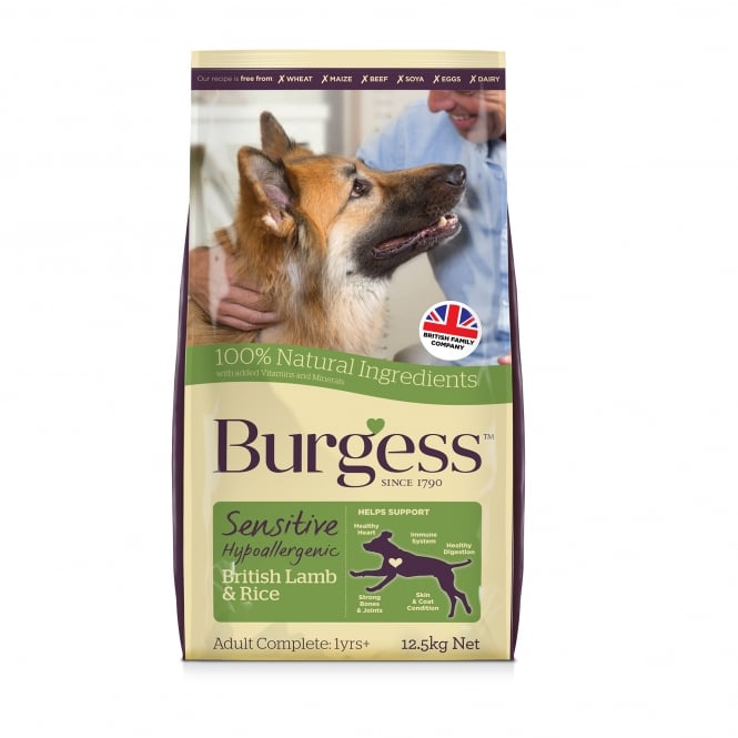 Burgess Sensitive Adult Dog Food With British Lamb & Rice 12.5kg