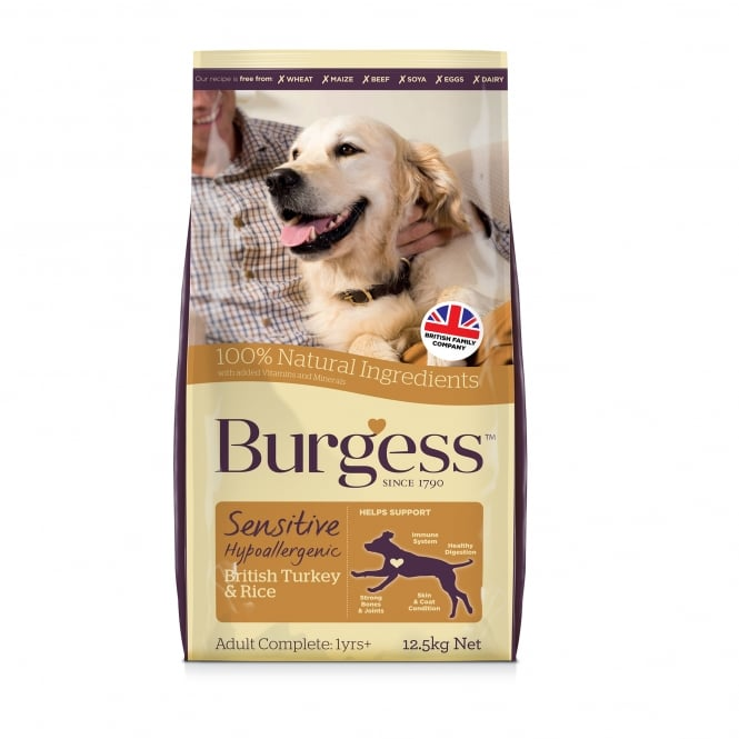 Burgess Sensitive Adult Dog Food With British Turkey & Rice 12.5kg