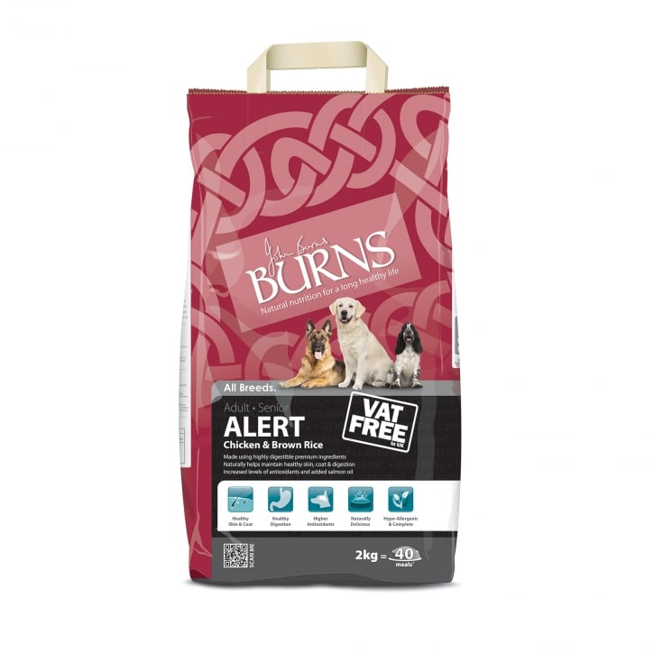 Burns Alert Chicken & Brown Rice Adult Dog Food 2kg