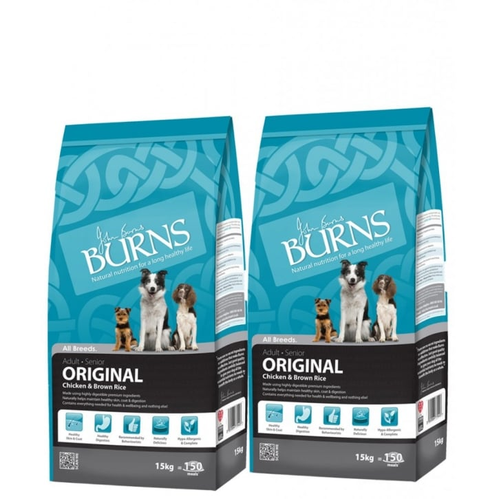 Burns Original Adult Dog Food Chicken & Brown Rice 2 x 15kg Twin Deal