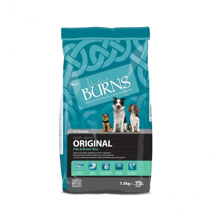 Burns Original Fish & Brown Rice Adult & Senior Dog Food 7.5kg