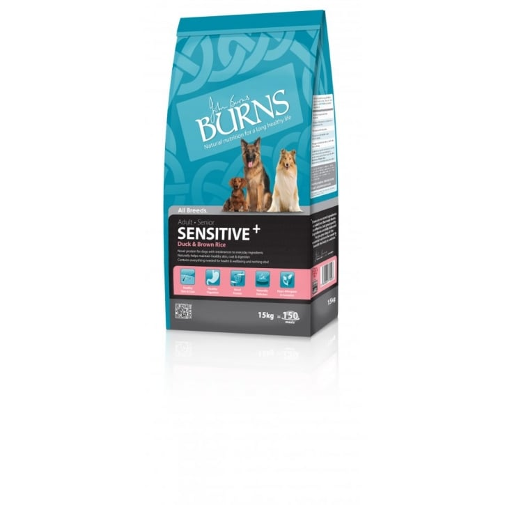 Burns Sensitive Adult & Senior Dog Food With Duck & Brown Rice 15kg