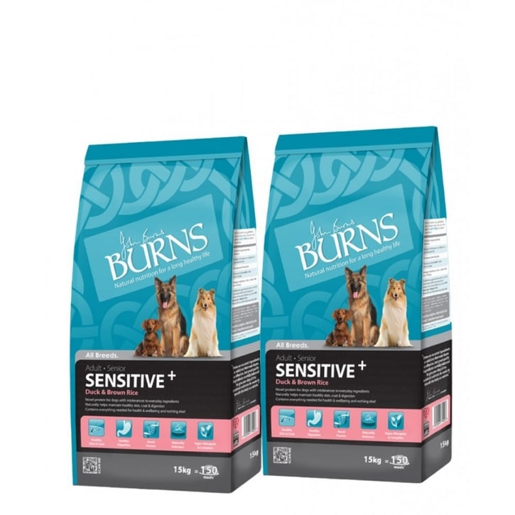 Burns Sensitive Adult & Senior Dog Food With Duck & Brown Rice 2 x 15kg Twin Deal