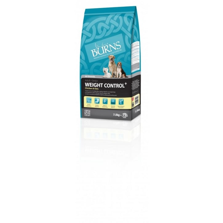 Burns Weight Control Adult & Senior Dog Food With Chicken & Oats 7.5kg