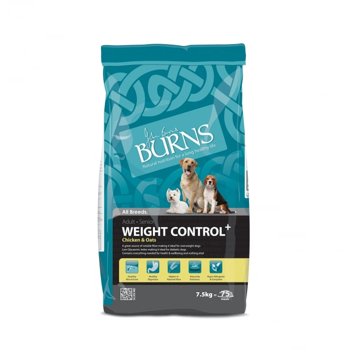 Burns Weight Control Chicken & Oats Adult & Senior Dog Food 7.5kg