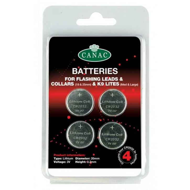 Canac Batteries for Flashing Safety Leads & Collars Pack 4