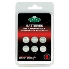 Canac Batteries for Flashing Safety Leads & Collars Pack 6