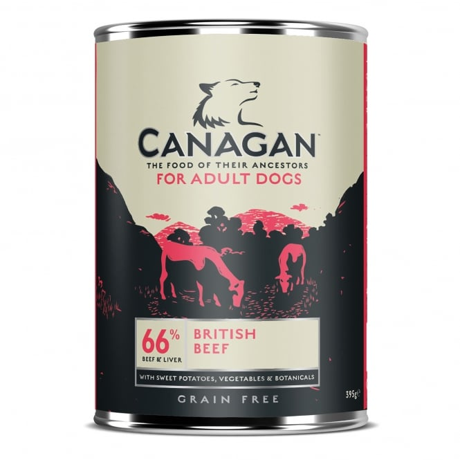 Canagan British Braised Beef With Liver Grain Free Wet Adult Dog Food 395g