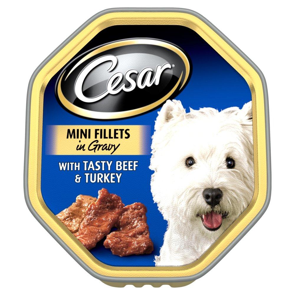 Cesar Tray Mini Fillets in Gravy Tasty Beef & Turkey 14x150gm | Feedem