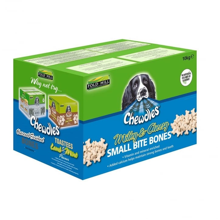 Chewdles Milky & Cheesy Small Bite Bones Dog Biscuits 10kg
