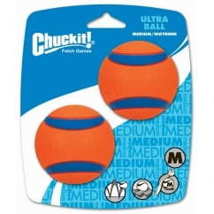 Ultra Rubber Ball Dog Toy Medium 2 Pack