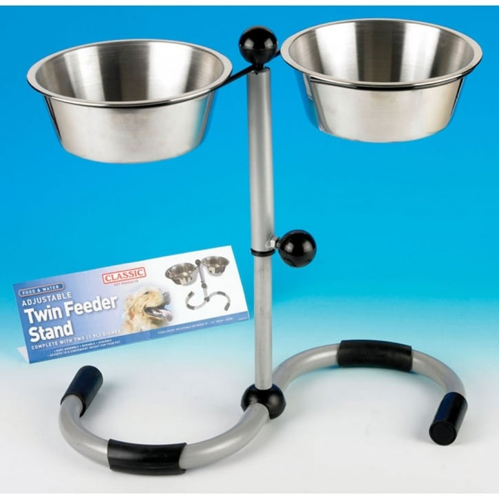 Classic Adjustable Twin Feeding Stand Inc Dishes 2x210mm
