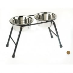 Double Feeder Dog Stand 220ml High Inc 2 x 900ml Dishes