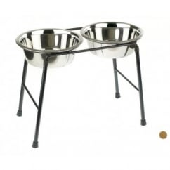 Double Feeder Dog Stand 300mm High Inc 2 x 1600ml Dishes
