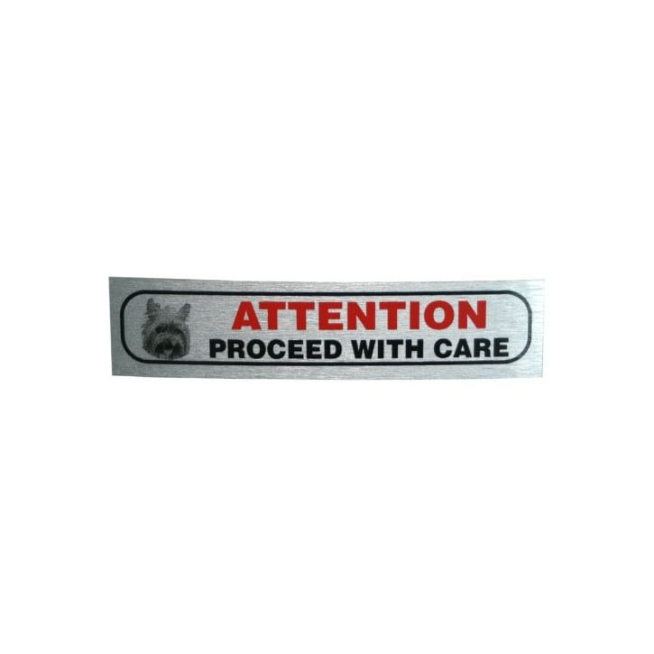 Classic Sign & Design Attention Proceed With Care Brushed Metal Sticker