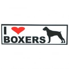 Classic Sign & Design Self Adhesive Quality Vinyl I Love My Boxer Dog Sign Sticker