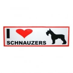 Classic Sign & Design Self Adhesive Quality Vinyl I Love My Minature Schnauzers Dog Sign Sticker