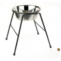 Single Feeder Dog Stand 370mm High Inc 4000ml Dish
