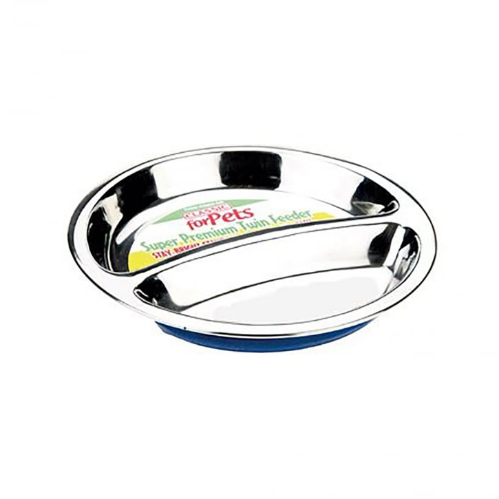 Classic Stainless Steel Non-slip Double Dish 160mm dia