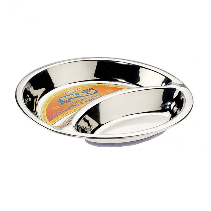 Classic Stainless Steel Non-slip Double Dish 210mm dia