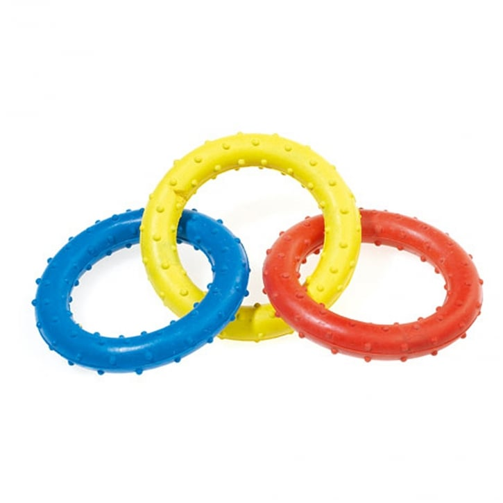 Classic Triple Ring Rubber Tug Dog Toy 190mm