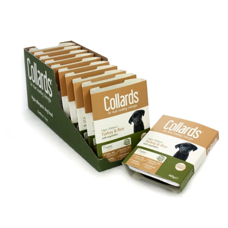 Collards Hypo-allergenic Wet Tray Puppy Dog Food Turkey,Rice & Vegatables 10x400gm