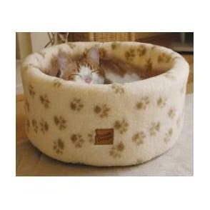 Small 42cm Danish Design Sherpa Fleece Paw Print Cat Cosy