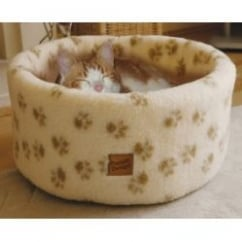 Danish Design Cat Cosy Fleece Bed Cream - Small 42cm