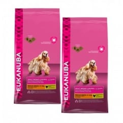 Eukanuba Adult Weight Control Medium Breed Dog Food With Chicken 2 x 14kg