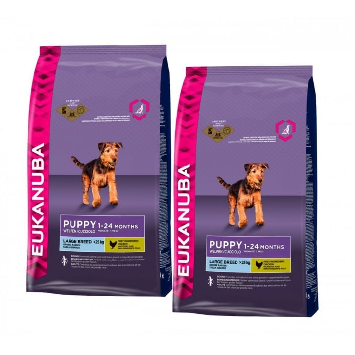 Eukanuba Puppy & Junior Large Breed Dog Food With Chicken 2 x 12kg