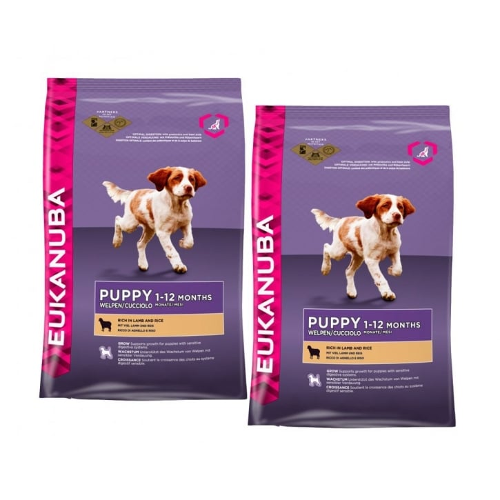 Eukanuba Puppy Small & Medium Breed Dog Food With Lamb 2 x 12kg