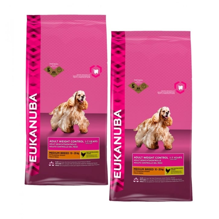 Eukanuba Weight Control Medium Breed Dog Food With Chicken 2 x 12kg