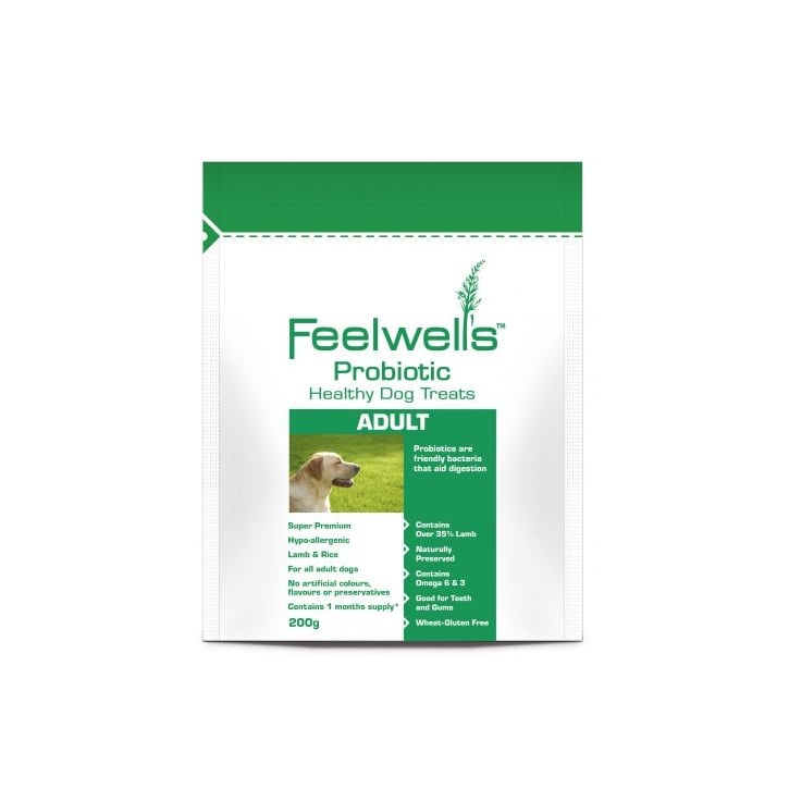 Feelwells Probiotic Adult Sensitive Lamb & Rice Healthy Dog Treats 200gm