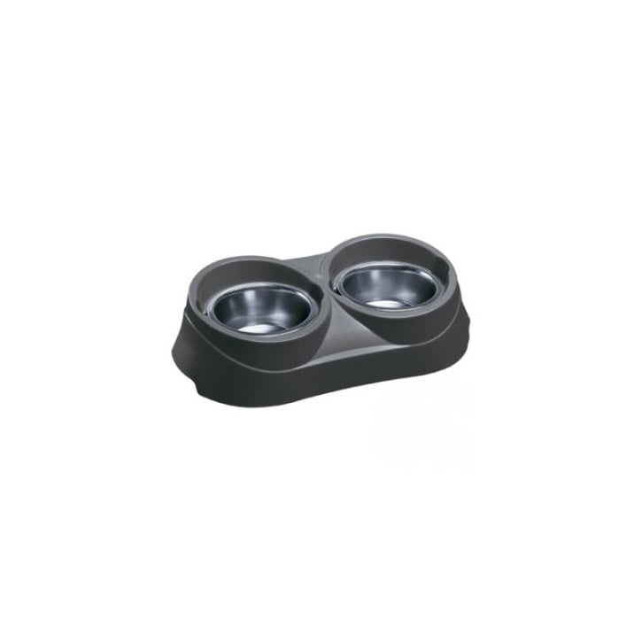 Ferplast Duo 05 Plastic/Stainless Steel Dog Feeder Stand with Bowls