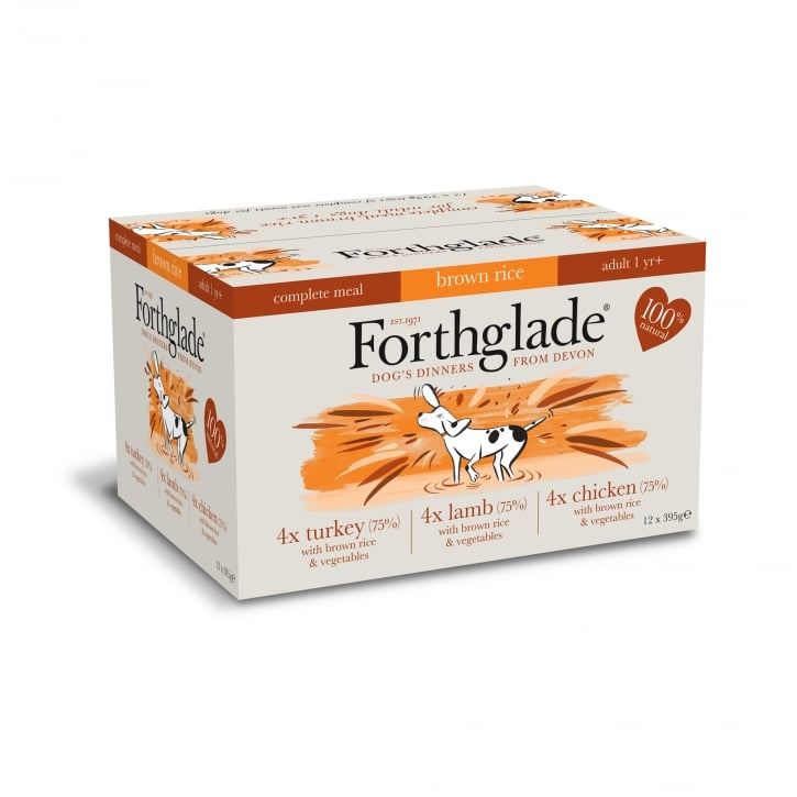 Forthglade Complete Meal Adult Multicase ( Chicken, Lamb & Turkey) With Brown Rice 12 x 395g