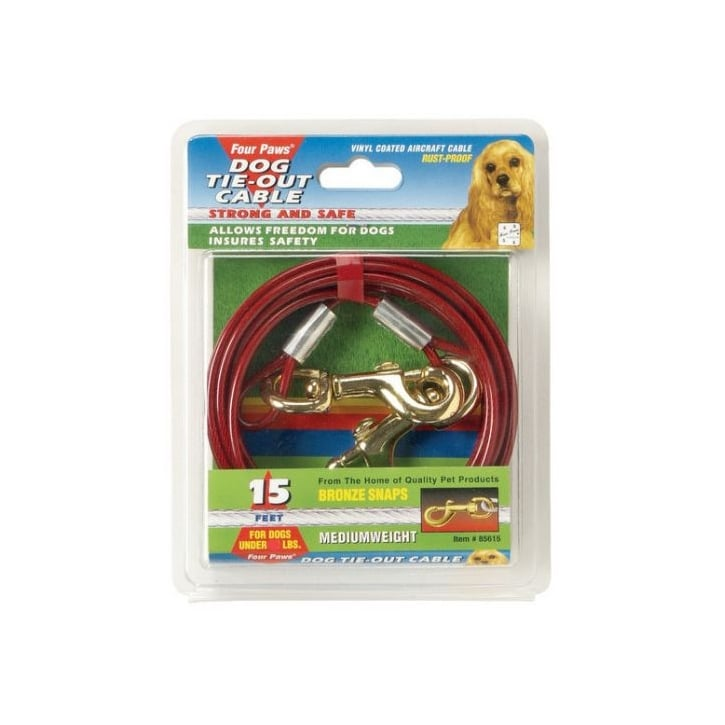Four Paws Medium Weight Dog Tie Out Cable Red - 10'