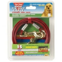 Four Paws Medium Weight Dog Tie Out Cable Red - 15'