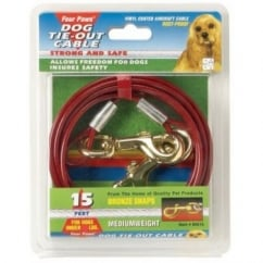 Medium Weight Dog Tie Out Cable Red - 20'